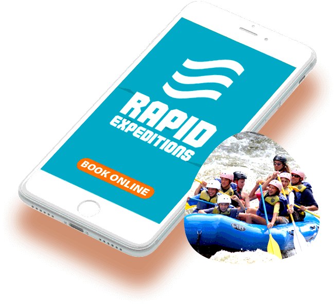 Composite image of white smart phone with Rapid Expeditions logo displayed on the screen, with a photo of a river rafting group on the water that has been floated on top of the phone image.