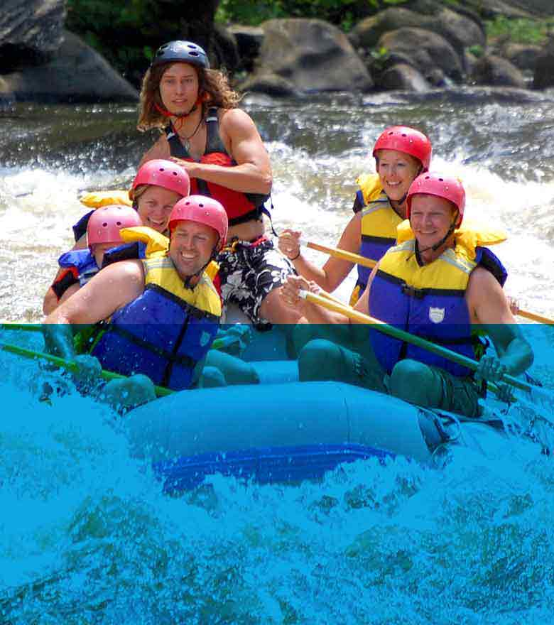 Group of five whitewater rafting on the Pigeon River.